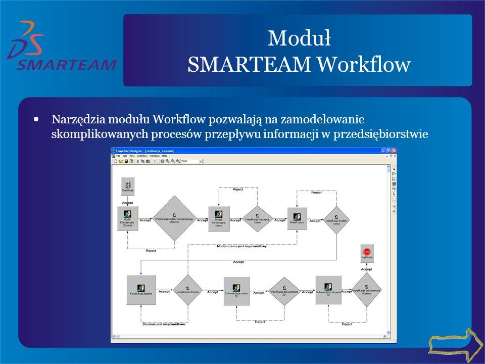 Moduł SMARTEAM Workflow Narzędzia modułu Workflow pozwalają na zamodelowanie skomplikowanych procesów przepływu informacji w przedsiębiorstwie