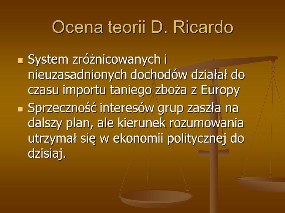 Ocena teorii D. Ricardo System zróżnicowanych i nieuzasadnionych dochodów działał do czasu importu taniego zboża z Europy System zróżnicowanych i nieu