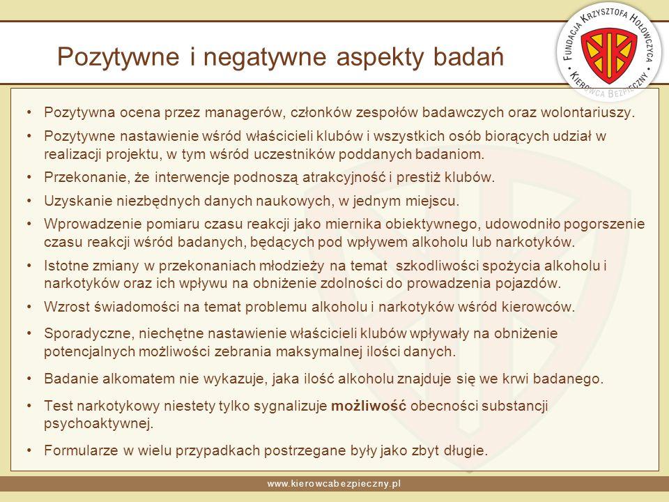 www.kierowcabezpieczny.pl Pozytywne i negatywne aspekty badań Pozytywna ocena przez managerów, członków zespołów badawczych oraz wolontariuszy. Pozyty