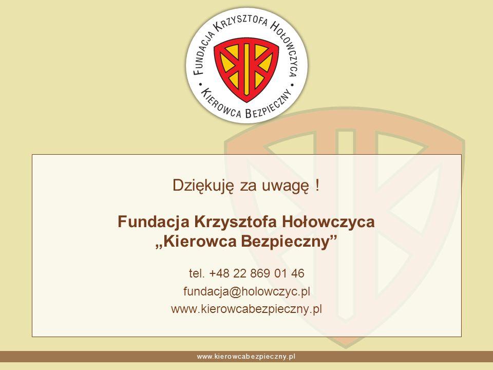 Dziękuję za uwagę ! Fundacja Krzysztofa Hołowczyca Kierowca Bezpieczny tel. +48 22 869 01 46 fundacja@holowczyc.pl www.kierowcabezpieczny.pl
