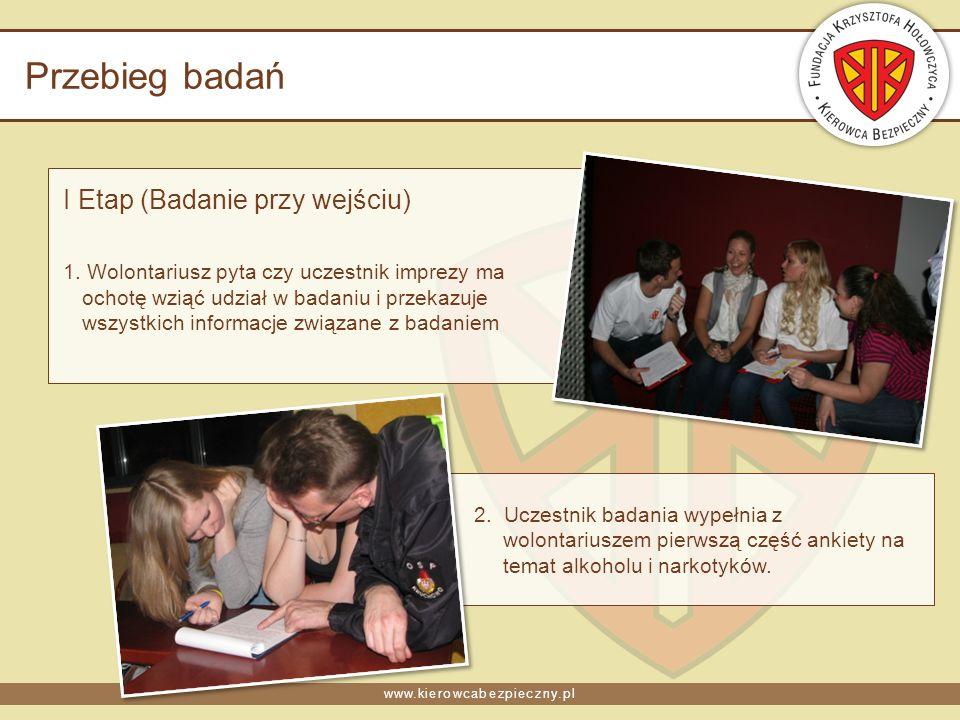 www.kierowcabezpieczny.pl Przebieg badań I Etap (Badanie przy wejściu) 1. Wolontariusz pyta czy uczestnik imprezy ma ochotę wziąć udział w badaniu i p
