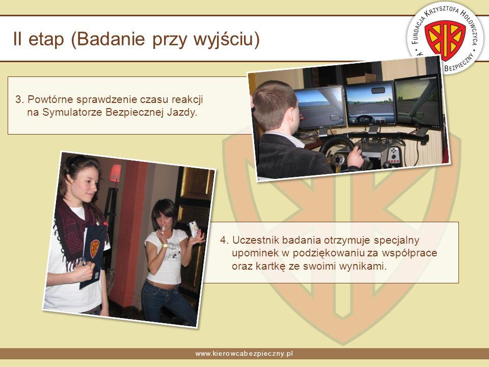 www.kierowcabezpieczny.pl II etap (Badanie przy wyjściu) 3. Powtórne sprawdzenie czasu reakcji na Symulatorze Bezpiecznej Jazdy. 4. Uczestnik badania