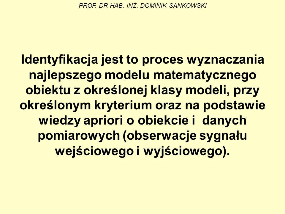 Identyfikacja jest to proces wyznaczania najlepszego modelu matematycznego obiektu z określonej klasy modeli, przy określonym kryterium oraz na podsta