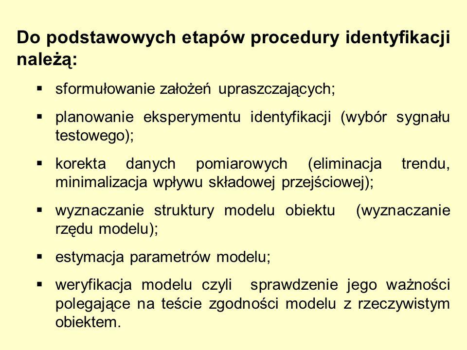 Do podstawowych etapów procedury identyfikacji należą: sformułowanie założeń upraszczających; planowanie eksperymentu identyfikacji (wybór sygnału tes