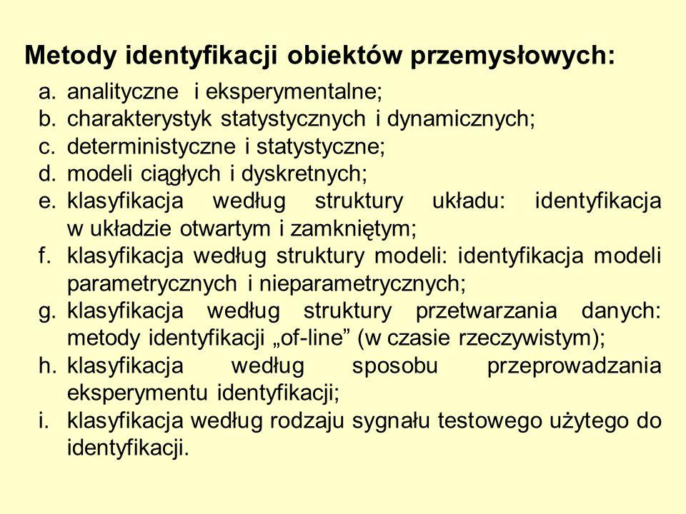 Metody identyfikacji obiektów przemysłowych: a. analityczne i eksperymentalne; b. charakterystyk statystycznych i dynamicznych; c. deterministyczne i