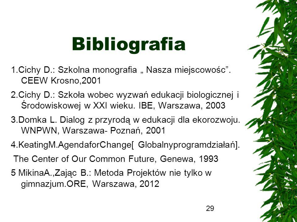 29 Bibliografia 1.Cichy D.: Szkolna monografia Nasza miejscowośc. CEEW Krosno,2001 2.Cichy D.: Szkoła wobec wyzwań edukacji biologicznej i Środowiskow