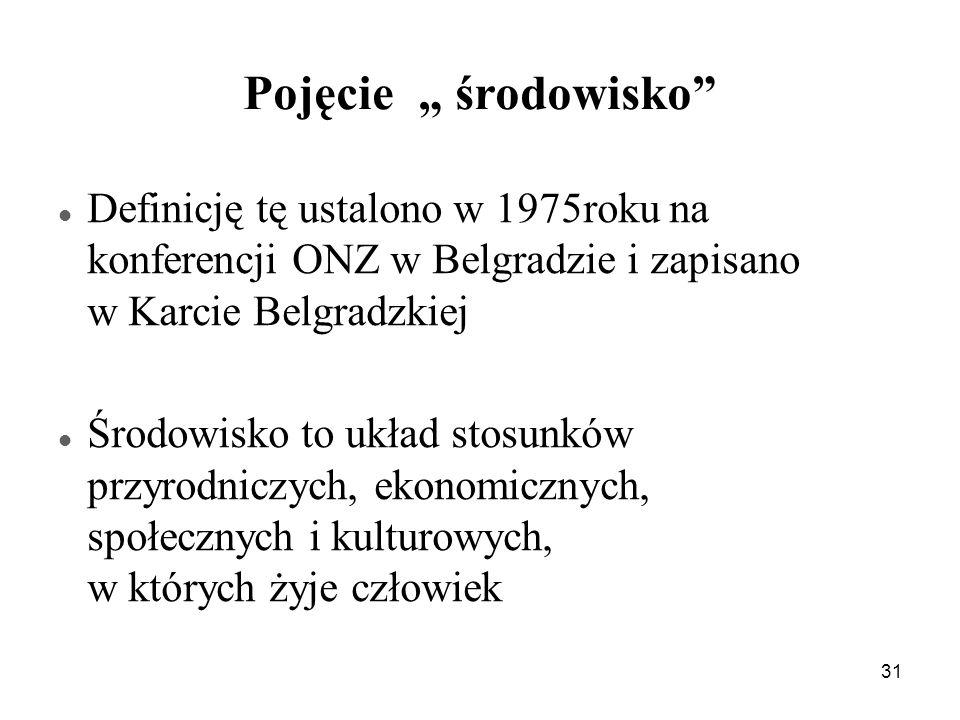 31 Pojęcie środowisko Definicję tę ustalono w 1975roku na konferencji ONZ w Belgradzie i zapisano w Karcie Belgradzkiej Środowisko to układ stosunków