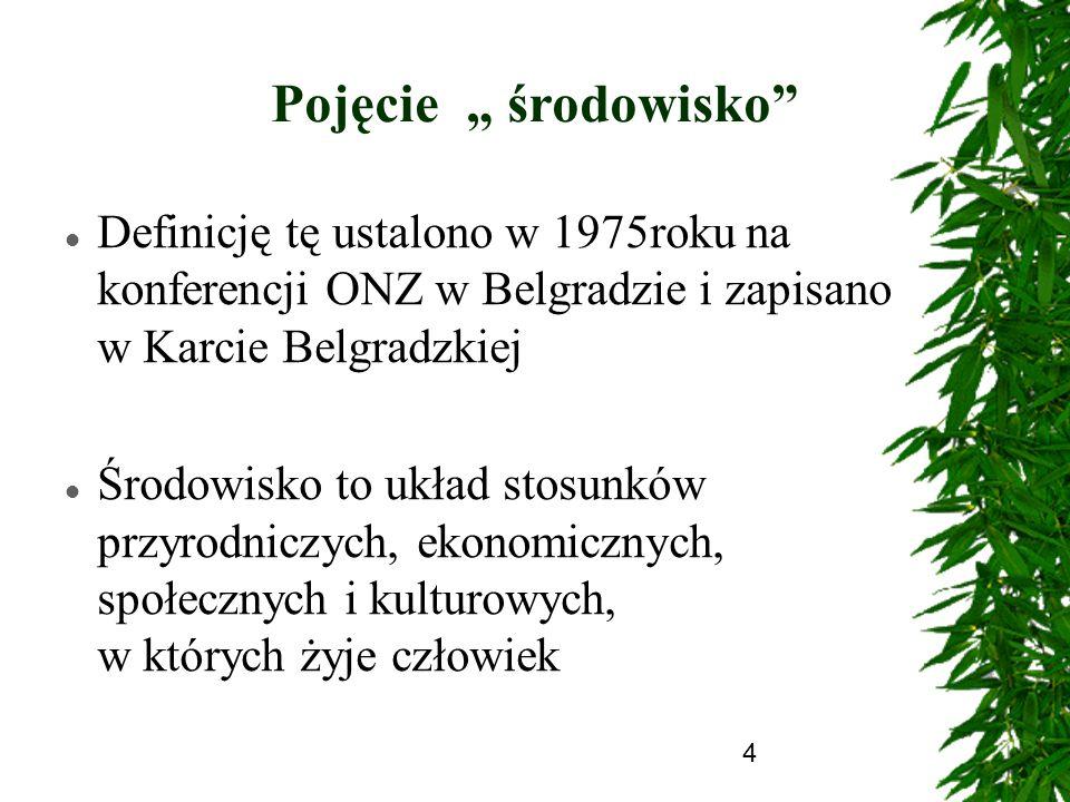 4 Pojęcie środowisko Definicję tę ustalono w 1975roku na konferencji ONZ w Belgradzie i zapisano w Karcie Belgradzkiej Środowisko to układ stosunków p