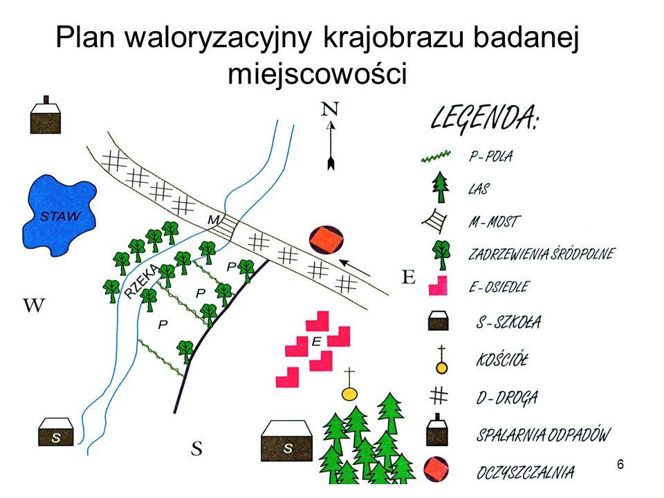 46 Plan waloryzacyjny krajobrazu badanej miejscowości