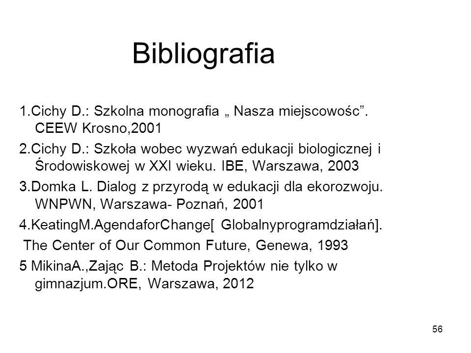 56 Bibliografia 1.Cichy D.: Szkolna monografia Nasza miejscowośc. CEEW Krosno,2001 2.Cichy D.: Szkoła wobec wyzwań edukacji biologicznej i Środowiskow
