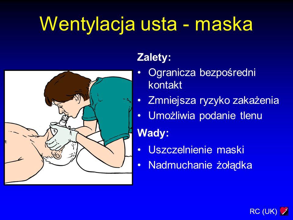 RC (UK) Wentylacja usta - maska Zalety: Ogranicza bezpośredni kontakt Zmniejsza ryzyko zakażenia Umożliwia podanie tlenu Wady: Uszczelnienie maski Nad