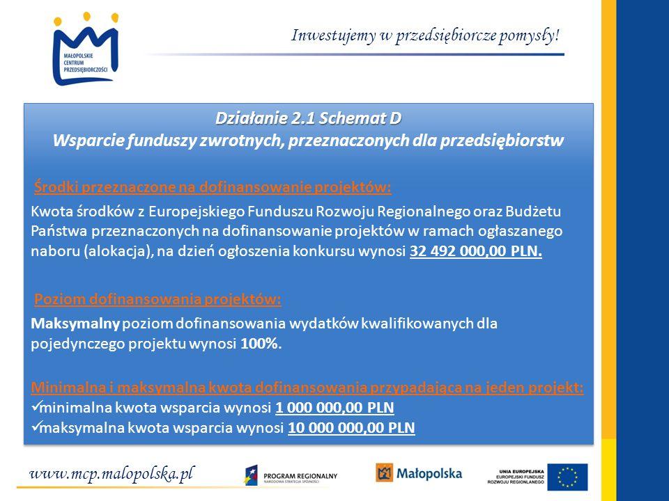 www.mcp.malopolska.pl Inwestujemy w przedsiębiorcze pomysły! Działanie 2.1 Schemat D Wsparcie funduszy zwrotnych, przeznaczonych dla przedsiębiorstw Ś