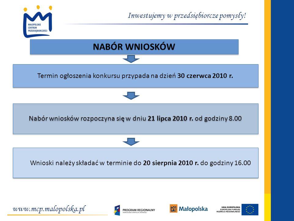 www.mcp.malopolska.pl Inwestujemy w przedsiębiorcze pomysły! NABÓR WNIOSKÓW Nabór wniosków rozpoczyna się w dniu 21 lipca 2010 r. od godziny 8.00 Wnio