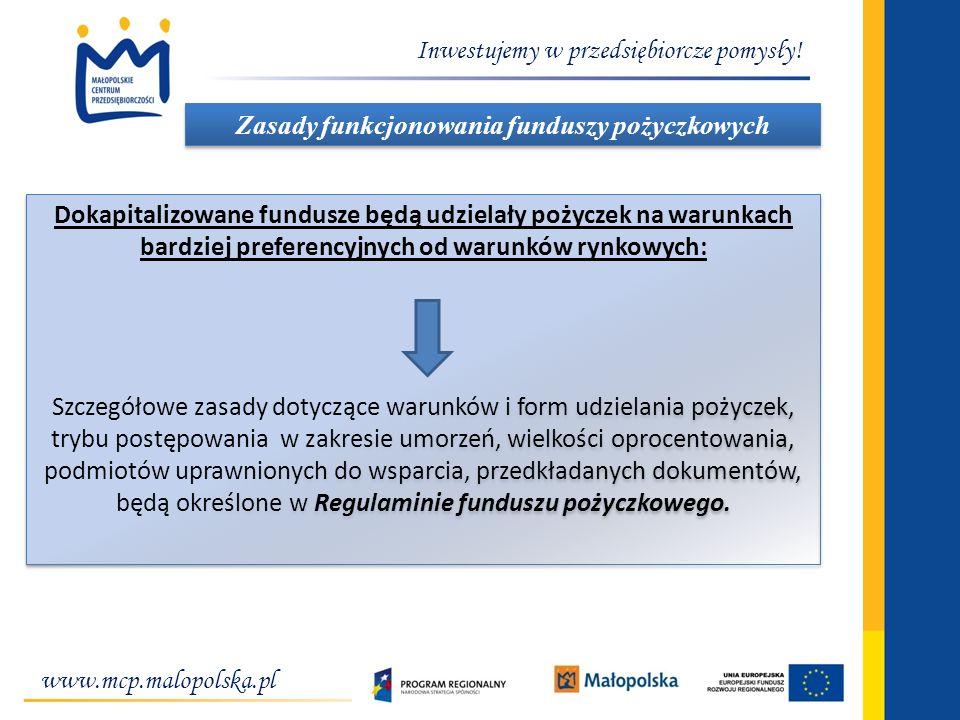 Inwestujemy w przedsiębiorcze pomysły! www.mcp.malopolska.pl Zasady funkcjonowania funduszy pożyczkowych W Dokapitalizowane fundusze będą udzielały po