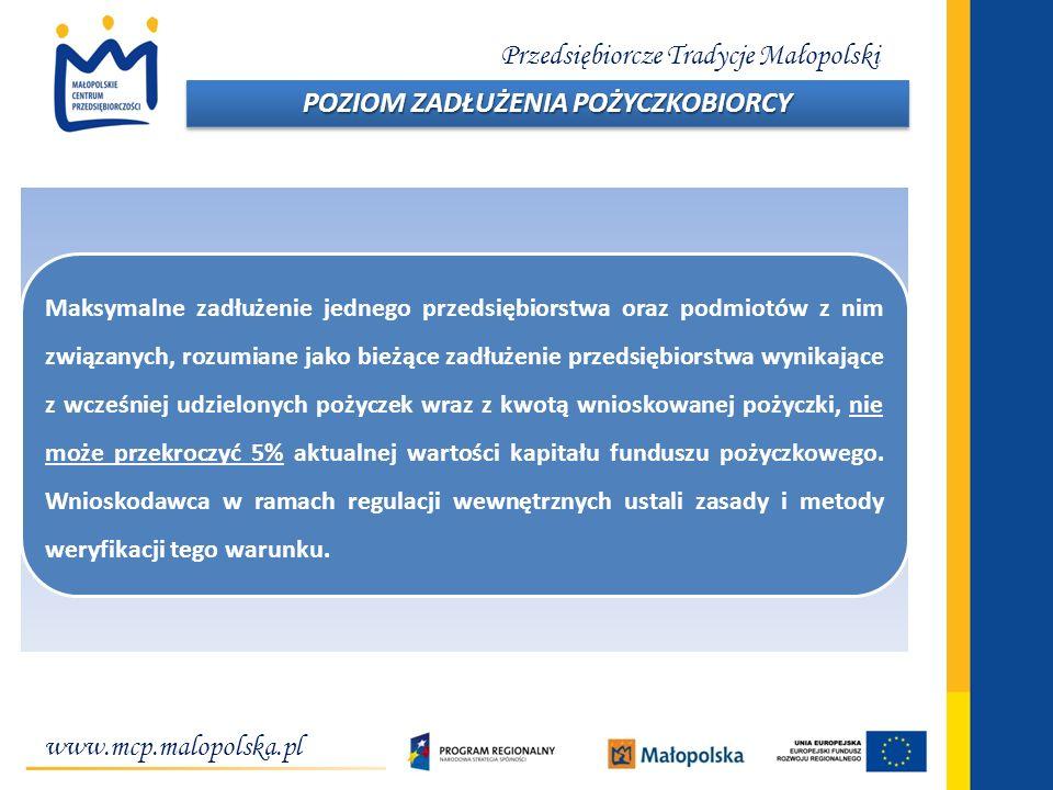 www.mcp.malopolska.pl Przedsiębiorcze Tradycje Małopolski POZIOM ZADŁUŻENIA POŻYCZKOBIORCY Maksymalne zadłużenie jednego przedsiębiorstwa oraz podmiot