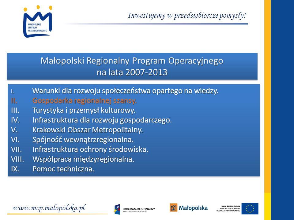 Inwestujemy w przedsiębiorcze pomysły! Małopolski Regionalny Program Operacyjnego na lata 2007-2013 I. Warunki dla rozwoju społeczeństwa opartego na w