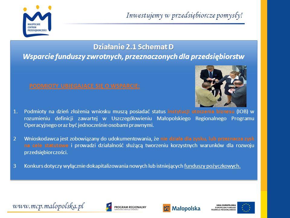 www.mcp.malopolska.pl Inwestujemy w przedsiębiorcze pomysły! Działanie 2.1 Schemat D Wsparcie funduszy zwrotnych, przeznaczonych dla przedsiębiorstw P