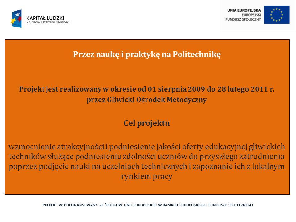 PROJEKT WSPÓŁFINANSOWANY ZE ŚRODKÓW UNII EUROPEJSKIEJ W RAMACH EUROPEJSKIEGO FUNDUSZU SPOŁECZNEGO Przez naukę i praktykę na Politechnikę Projekt jest realizowany w okresie od 01 sierpnia 2009 do 28 lutego 2011 r.