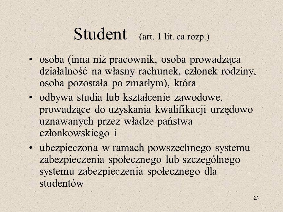 23 Student (art. 1 lit. ca rozp.) osoba (inna niż pracownik, osoba prowadząca działalność na własny rachunek, członek rodziny, osoba pozostała po zmar