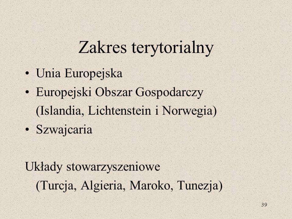 39 Zakres terytorialny Unia Europejska Europejski Obszar Gospodarczy (Islandia, Lichtenstein i Norwegia) Szwajcaria Układy stowarzyszeniowe (Turcja, Algieria, Maroko, Tunezja)