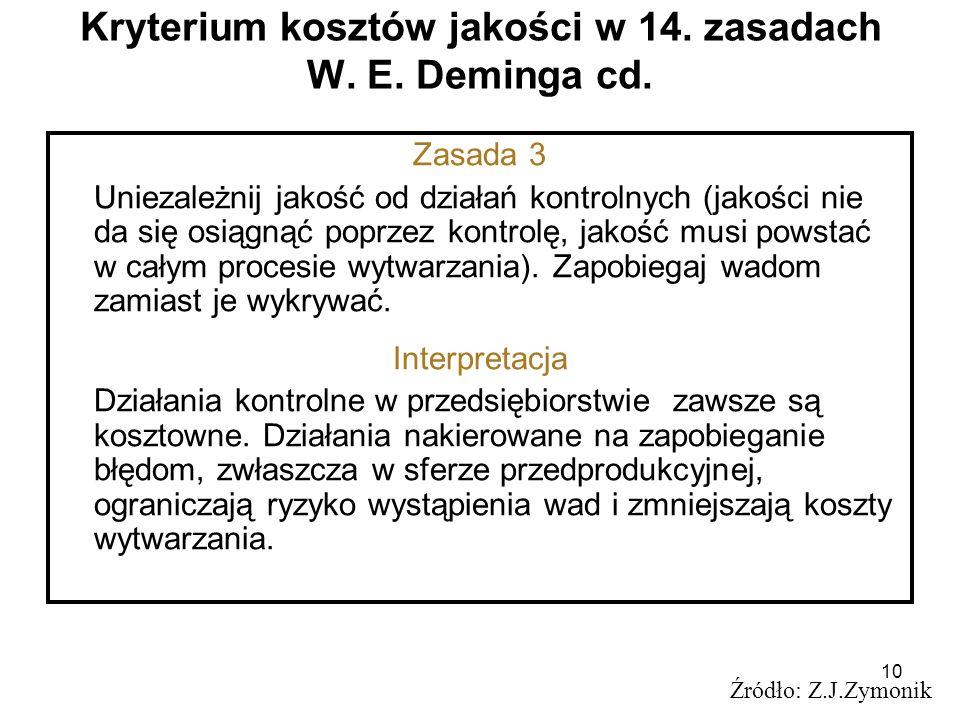 10 Kryterium kosztów jakości w 14. zasadach W. E. Deminga cd. Źródło: Z.J.Zymonik Zasada 3 Uniezależnij jakość od działań kontrolnych (jakości nie da