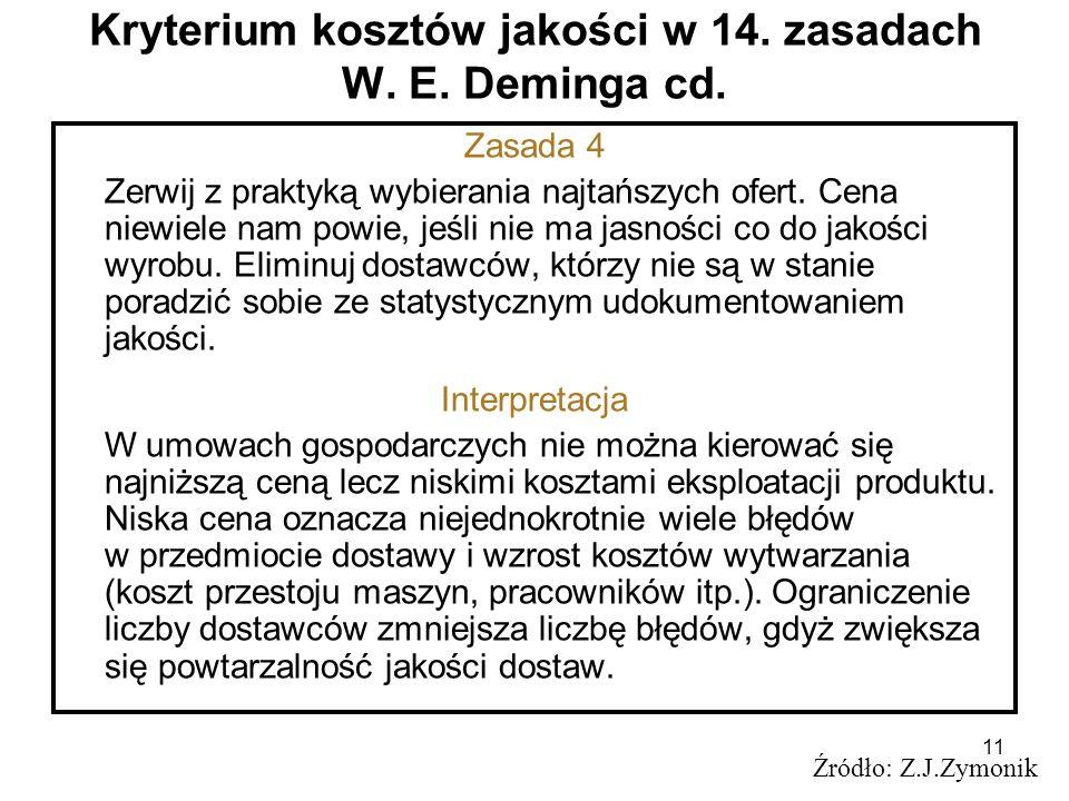 11 Kryterium kosztów jakości w 14. zasadach W. E. Deminga cd. Źródło: Z.J.Zymonik Zasada 4 Zerwij z praktyką wybierania najtańszych ofert. Cena niewie