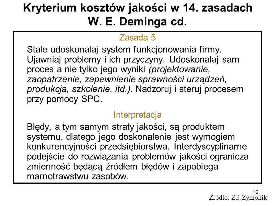 12 Kryterium kosztów jakości w 14. zasadach W. E. Deminga cd. Źródło: Z.J.Zymonik Zasada 5 Stale udoskonalaj system funkcjonowania firmy. Ujawniaj pro