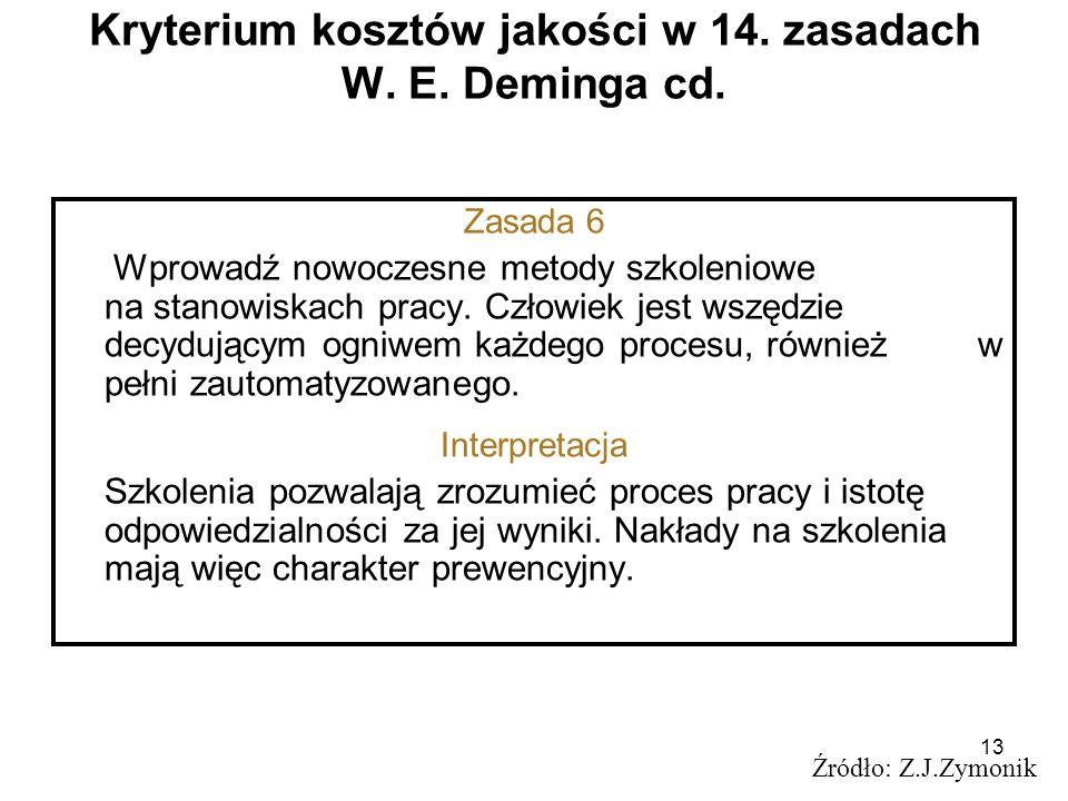 13 Kryterium kosztów jakości w 14. zasadach W. E. Deminga cd. Źródło: Z.J.Zymonik Zasada 6 Wprowadź nowoczesne metody szkoleniowe na stanowiskach prac