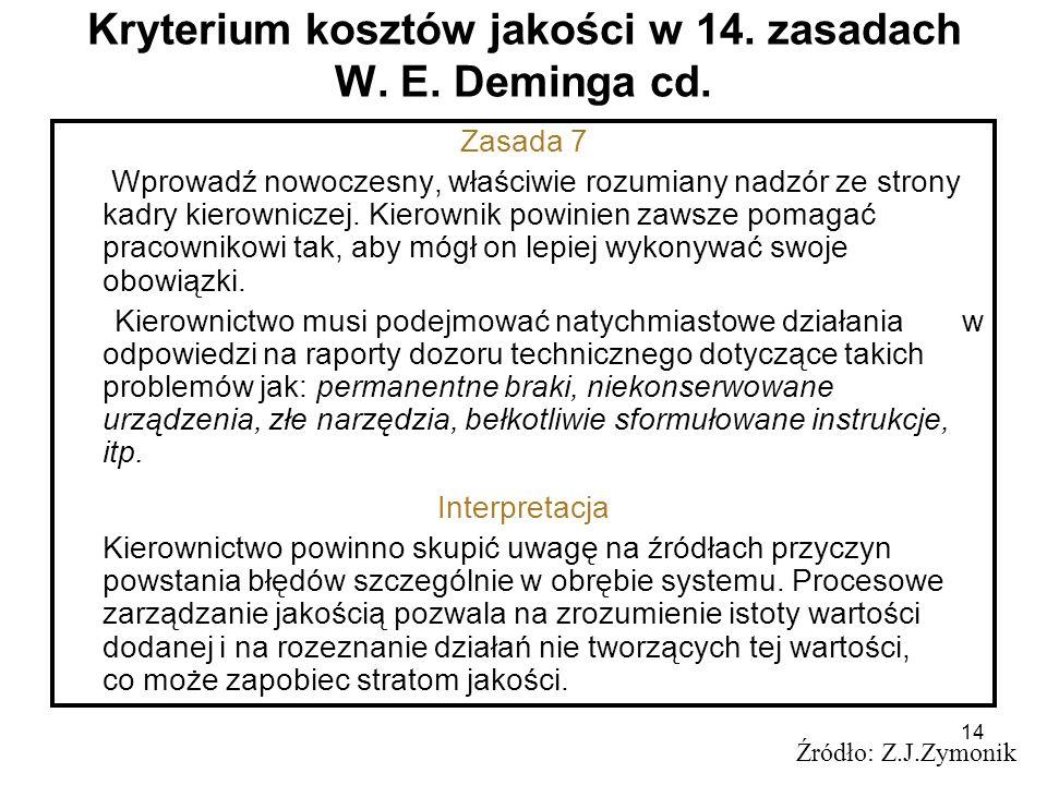 14 Kryterium kosztów jakości w 14. zasadach W. E. Deminga cd. Źródło: Z.J.Zymonik Zasada 7 Wprowadź nowoczesny, właściwie rozumiany nadzór ze strony k