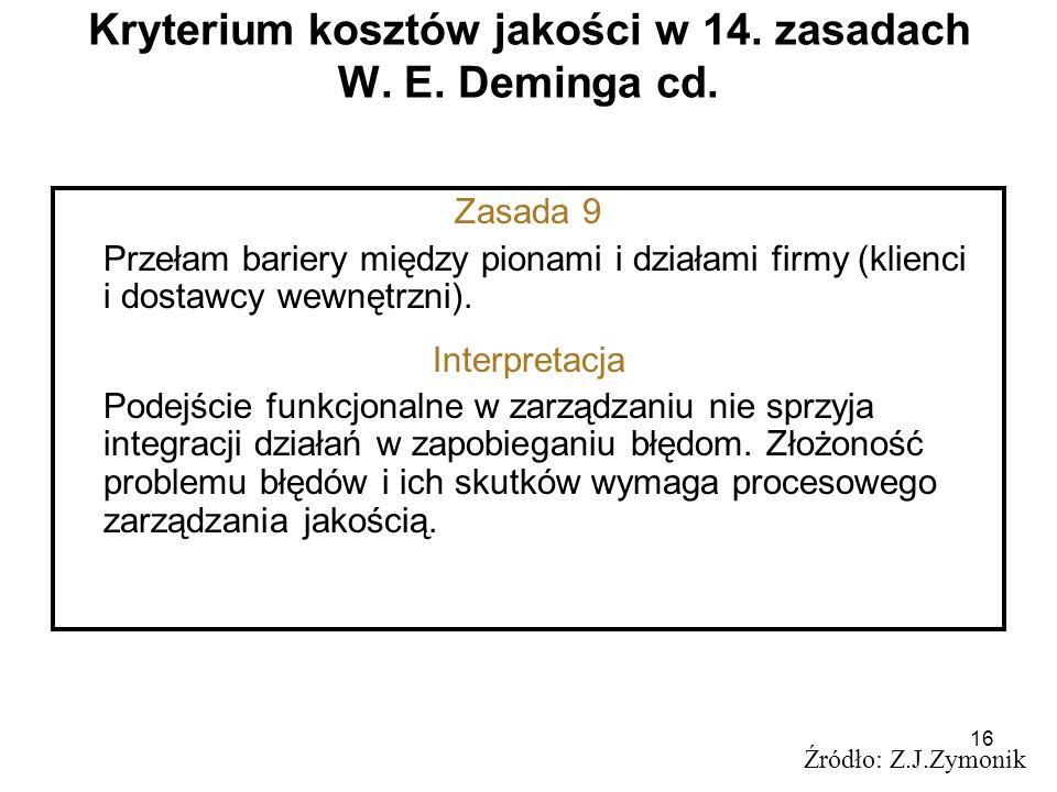 16 Kryterium kosztów jakości w 14. zasadach W. E. Deminga cd. Źródło: Z.J.Zymonik Zasada 9 Przełam bariery między pionami i działami firmy (klienci i