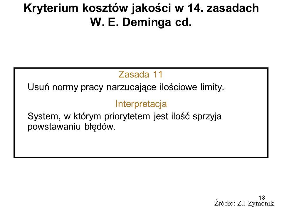 18 Kryterium kosztów jakości w 14. zasadach W. E. Deminga cd. Źródło: Z.J.Zymonik Zasada 11 Usuń normy pracy narzucające ilościowe limity. Interpretac