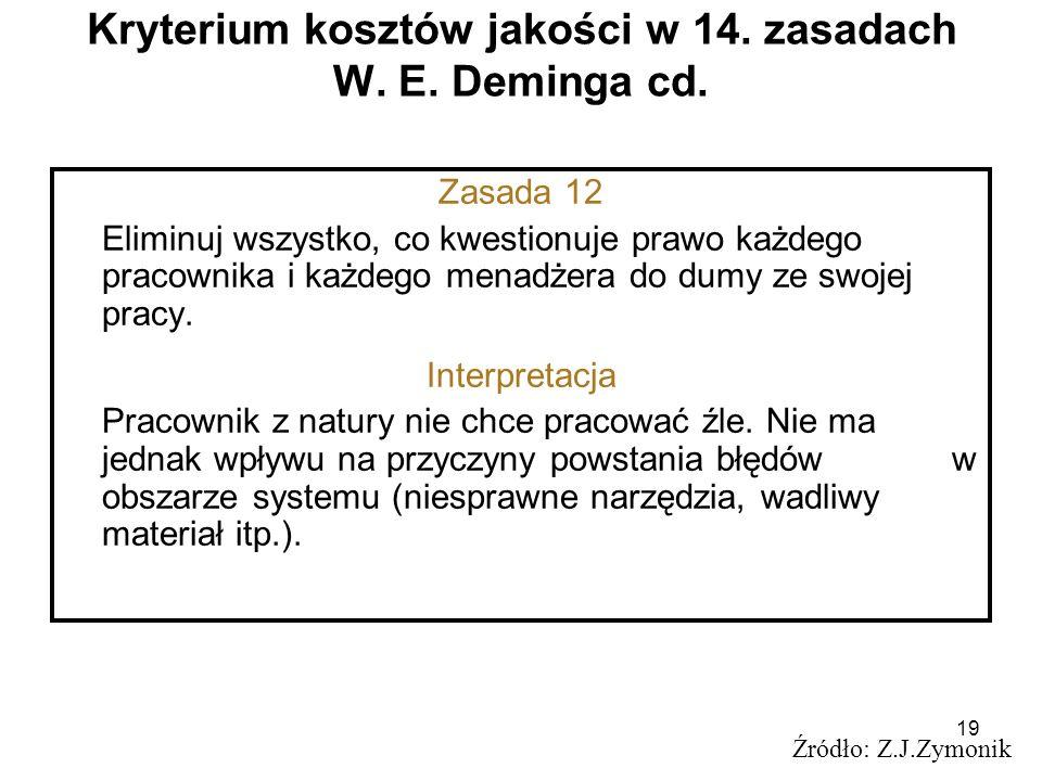 19 Kryterium kosztów jakości w 14. zasadach W. E. Deminga cd. Źródło: Z.J.Zymonik Zasada 12 Eliminuj wszystko, co kwestionuje prawo każdego pracownika