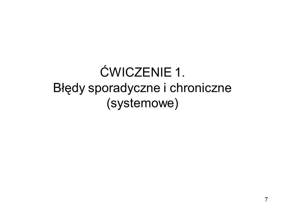 ĆWICZENIE 1. Błędy sporadyczne i chroniczne (systemowe) 7