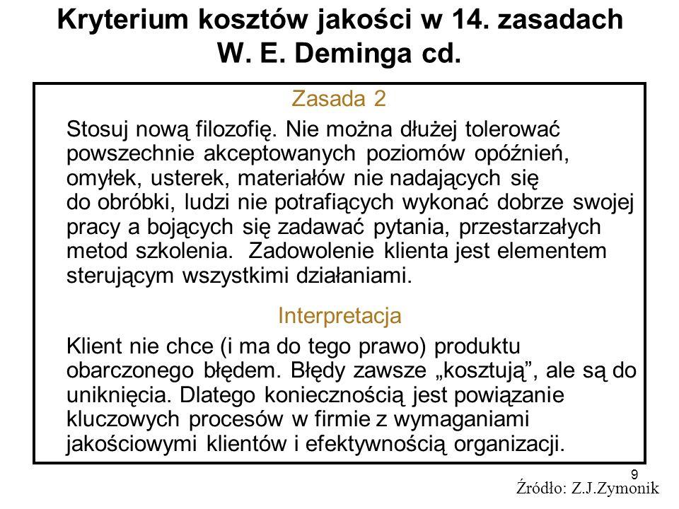 9 Kryterium kosztów jakości w 14. zasadach W. E. Deminga cd. Źródło: Z.J.Zymonik Zasada 2 Stosuj nową filozofię. Nie można dłużej tolerować powszechni