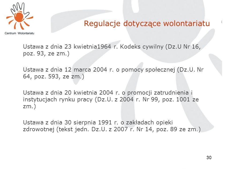 30 Regulacje dotyczące wolontariatu Ustawa z dnia 23 kwietnia1964 r. Kodeks cywilny (Dz.U Nr 16, poz. 93, ze zm.) Ustawa z dnia 12 marca 2004 r. o pom