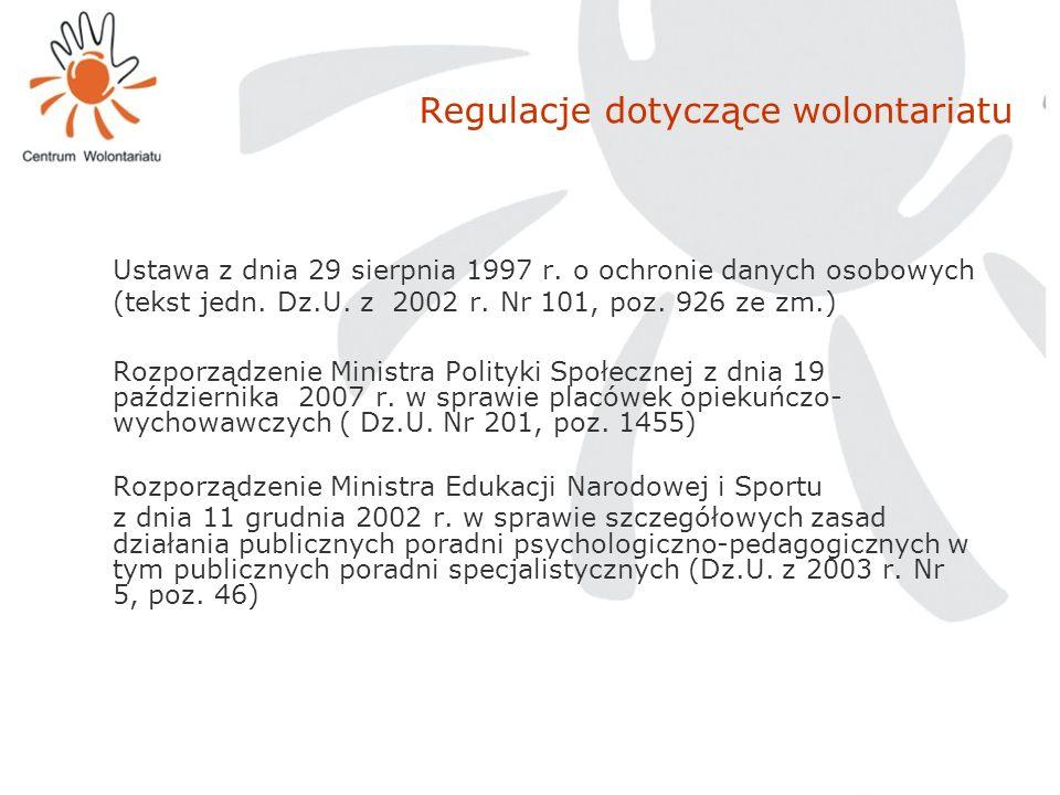 Regulacje dotyczące wolontariatu Ustawa z dnia 29 sierpnia 1997 r. o ochronie danych osobowych (tekst jedn. Dz.U. z 2002 r. Nr 101, poz. 926 ze zm.) R