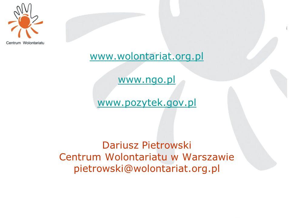 www.wolontariat.org.pl www.ngo.pl www.pozytek.gov.pl www.wolontariat.org.pl www.ngo.pl www.pozytek.gov.pl Dariusz Pietrowski Centrum Wolontariatu w Wa