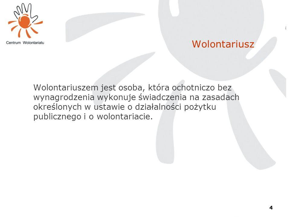 4 Wolontariusz Wolontariuszem jest osoba, która ochotniczo bez wynagrodzenia wykonuje świadczenia na zasadach określonych w ustawie o działalności poż