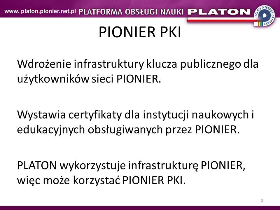 3 Struktura PIONIER PKI Główny Urząd Certyfikacji Pośrednie Urzędy Certyfikacji Końcowe Urzędy Certyfikacji Urzędy rejestracji Użytkownicy końcowi są obsługiwani przez CA tego poziomu.