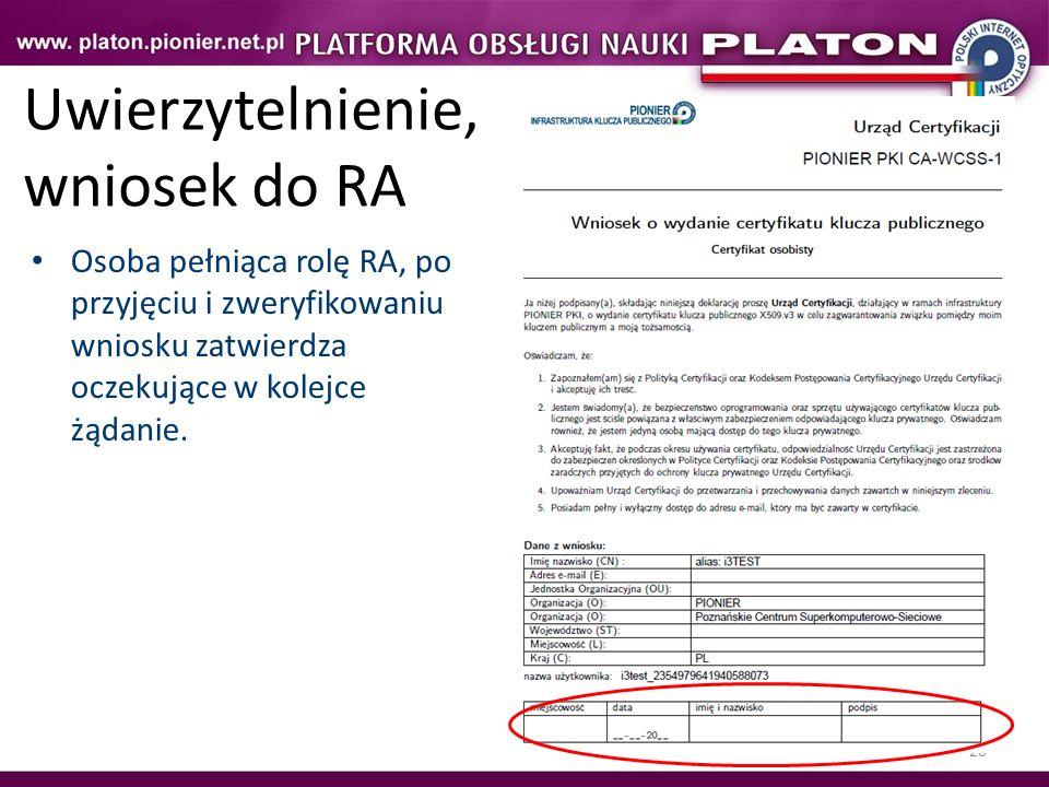 20 Uwierzytelnienie, wniosek do RA Osoba pełniąca rolę RA, po przyjęciu i zweryfikowaniu wniosku zatwierdza oczekujące w kolejce żądanie.