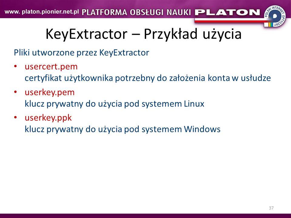 37 KeyExtractor – Przykład użycia Pliki utworzone przez KeyExtractor usercert.pem certyfikat użytkownika potrzebny do założenia konta w usłudze userke