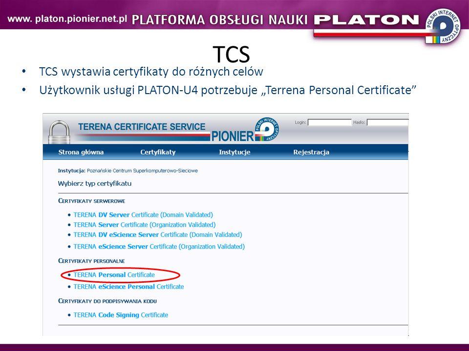 TCS TCS wystawia certyfikaty do różnych celów Użytkownik usługi PLATON-U4 potrzebuje Terrena Personal Certificate