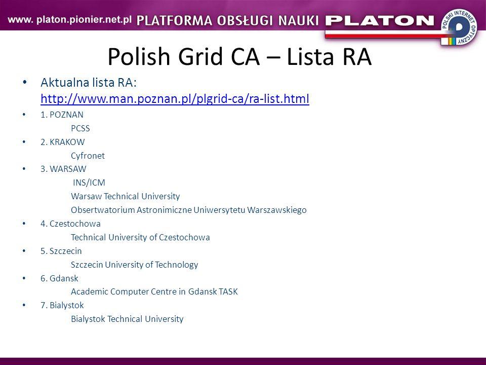 Polish Grid CA – Lista RA Aktualna lista RA: http://www.man.poznan.pl/plgrid-ca/ra-list.html http://www.man.poznan.pl/plgrid-ca/ra-list.html 1. POZNAN