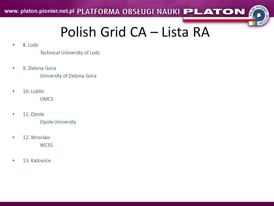 Polish Grid CA – Lista RA 8. Lodz Technical University of Lodz 9. Zielona Gora University of Zielona Gora 10. Lublin UMCS 11. Opole Opole University 1
