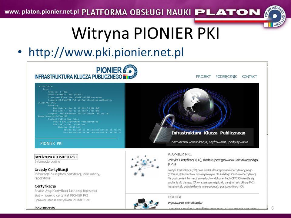 7 PIONIER PKI Strona pozwala na Zapoznanie się z polityką CA Wygenerowanie żądania certyfikatu.