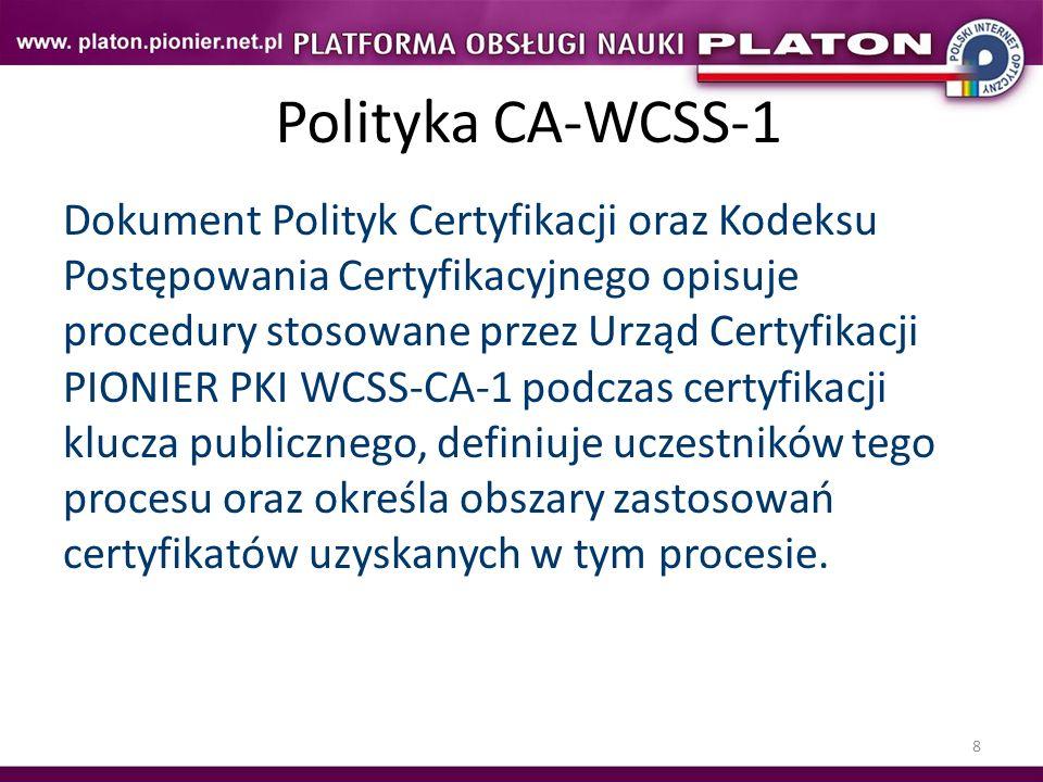 8 Polityka CA-WCSS-1 Dokument Polityk Certyfikacji oraz Kodeksu Postępowania Certyfikacyjnego opisuje procedury stosowane przez Urząd Certyfikacji PIO