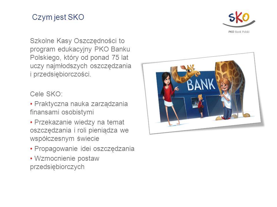 Czym jest SKO Szkolne Kasy Oszczędności to program edukacyjny PKO Banku Polskiego, który od ponad 75 lat uczy najmłodszych oszczędzania i przedsiębior