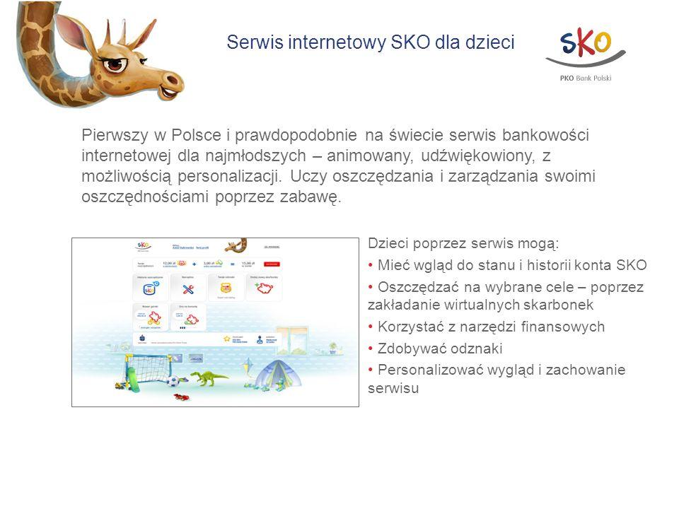 Serwis internetowy SKO dla dzieci Pierwszy w Polsce i prawdopodobnie na świecie serwis bankowości internetowej dla najmłodszych – animowany, udźwiękow