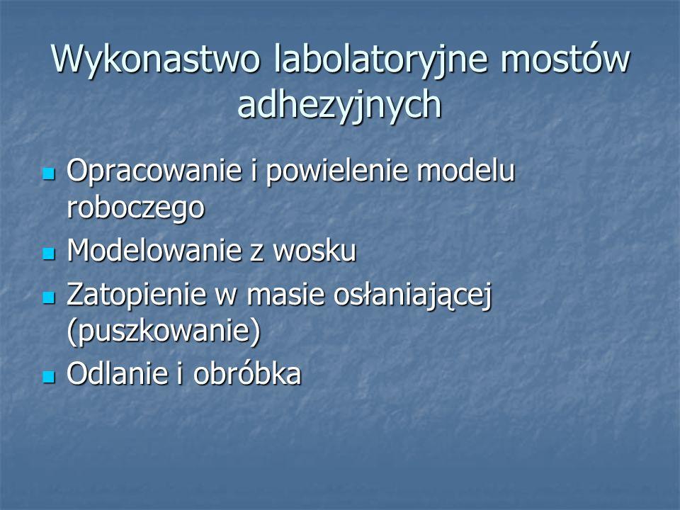 Wykonastwo labolatoryjne mostów adhezyjnych Opracowanie i powielenie modelu roboczego Opracowanie i powielenie modelu roboczego Modelowanie z wosku Mo