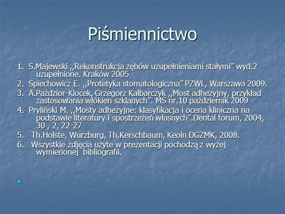 Piśmiennictwo 1. S.Majewski,,Rekonstrukcja zębów uzupełnieniami stałymi wyd.2 uzupełnione. Kraków 2005 2. Spiechowicz E.,,Protetyka stomatologiczna PZ